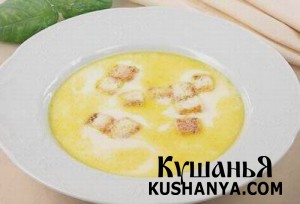 Суп молочный с гренками фото