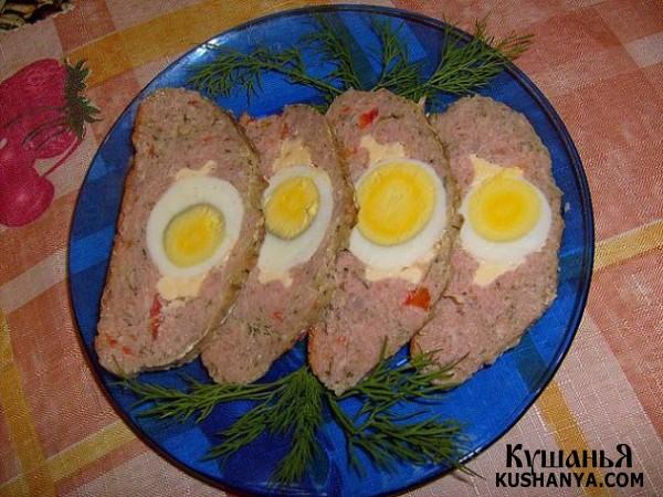 Фото Мясной рулет с болгарским перцем и яйцом