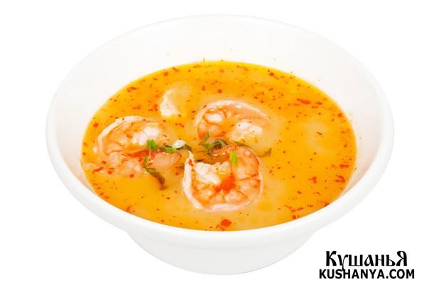 Фото Кокосовый суп с королевскими креветками