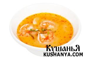 Кокосовый суп с королевскими креветками фото