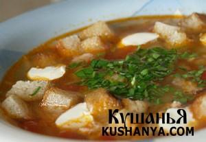 Фото Суп из слив с сухариками и сметаной