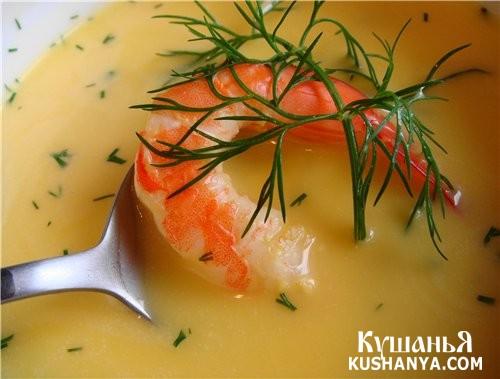 Фото Молочно-сырный суп с креветками