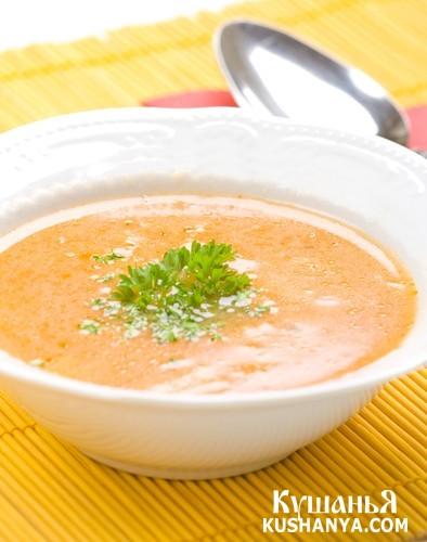 Фото Суп молочный манный с тыквой и рисом