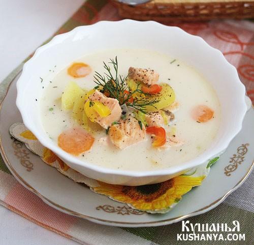 Фото Cырный суп с красной рыбой
