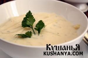 Молочный суп с виноградным соком и кольраби фото