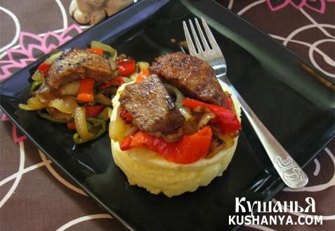 Фото Печень с овощами