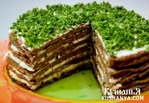 Фото Печеночный торт с грибами