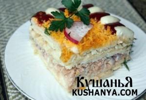 Рыбный торт с крекерами фото