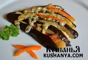Веер из баклажанов с овощами фото