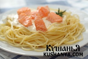 Спагетти с семгой фото