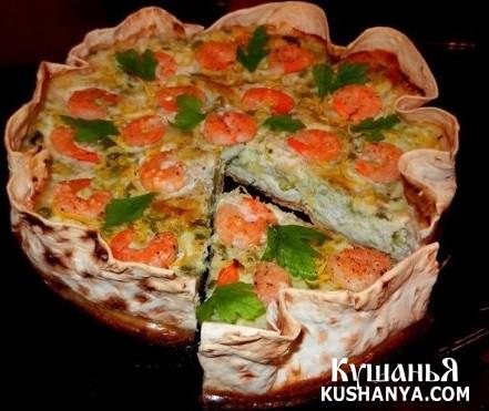 Фото Ленивый пирог с цуккини и креветками