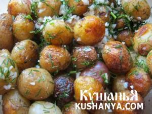 Молодой картофель жареный с чесноком и укропом фото