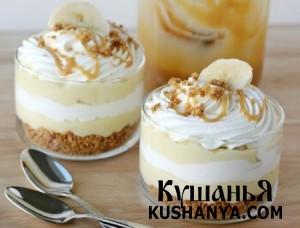 Бананово-карамельный десерт с кремом фото