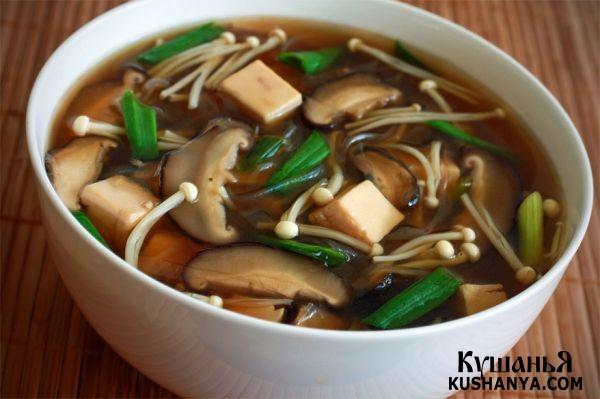 Фото Мисо суп с шиитаке и энокитаке