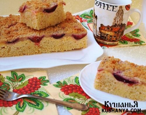 Фото Сливовый пирог с творожной заливкой