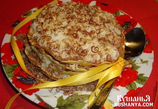 Фото Манный десерт с блинами