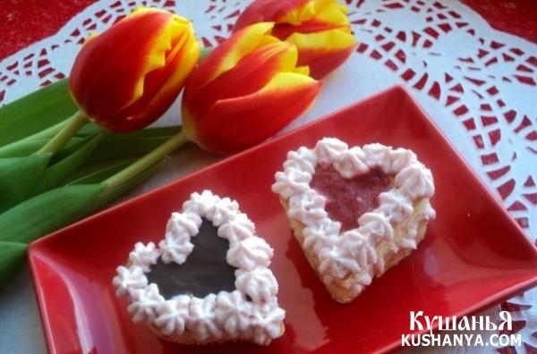 Пирожные в форме сердца рецепт