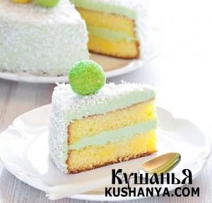 Бисквитный торт с марципановыми конфетами фото