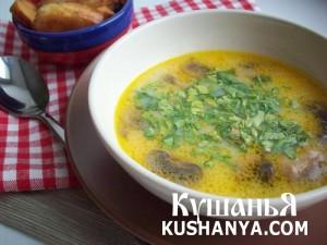 Суп из плавленных сырков с грибами фото