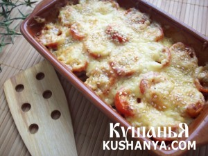Кабачки, запеченные с шампиньонами и помидорами под сыром фото