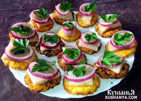 Фото Канапе на картофельных оладьях