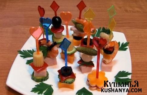 Фото Канапе из мяса и овощей