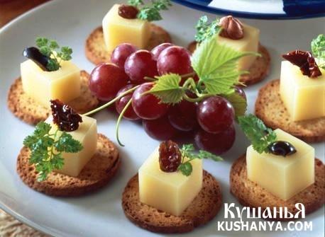 Фото Рецепт канапе с сыром и начинкой ассорти