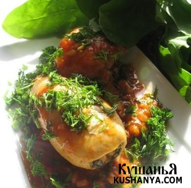 Фото Кальмары, фаршированные рисом и шпинатом