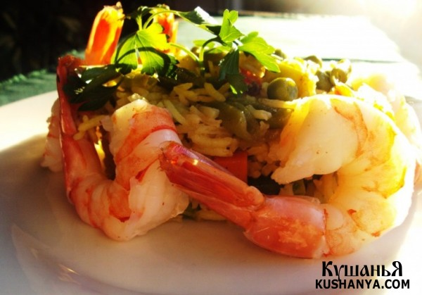 Фото Креветки с рисом и овощами
