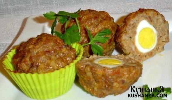 Фото Маффины мясные с перепелиными яйцами