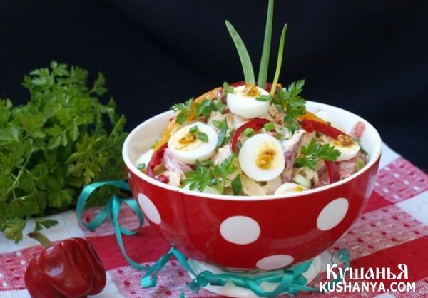 Фото Салат с хурмой и перепелиными яйцами