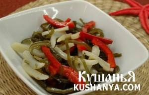Салат из морской капусты, кальмара и перца фото