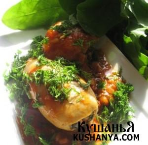 Кальмары, фаршированные рисом и шпинатом фото