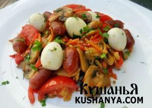 Лечо с колбасками Пиколини и перепелиными яйцами фото