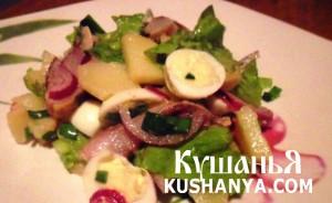 Фото Салат из сельди, картофеля с перепелиными яйцами