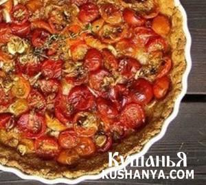 Пирог на сырной основе с помидорами фото