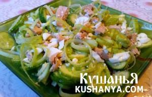 Салат из консервированных кальмаров фото