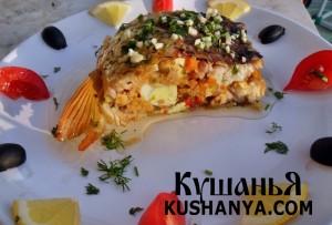 Карп, фаршированный овощами и перепелиными яйцами фото