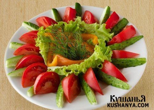 Овощная нарезка: огурцы, помидоры, салат латук и укроп !