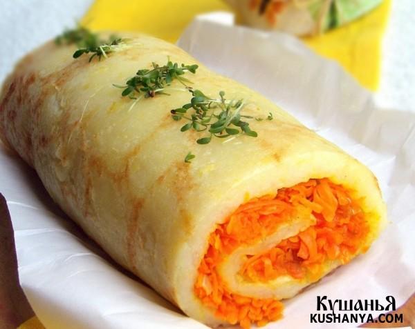 Фото Картофельный рулет с морковью