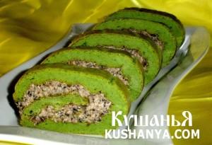 Закусочный зеленый рулет фото