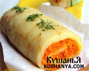 Картофельный рулет с морковью фото
