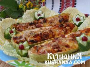 Кабачки фаршированные курицей с овощами фото