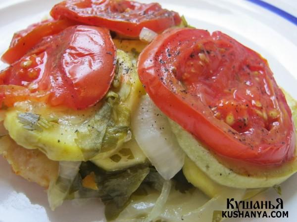 Фото Филе пангасиуса под овощами в фольге